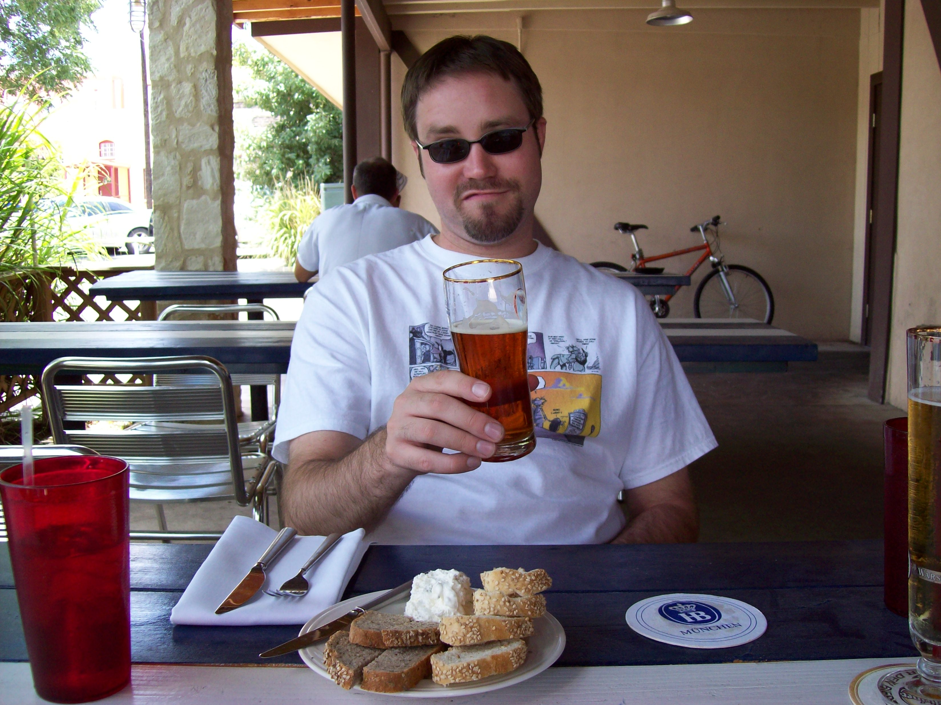 A random photo of me drinking a Maibock in New Braunfels. Ahhh ... vacation.