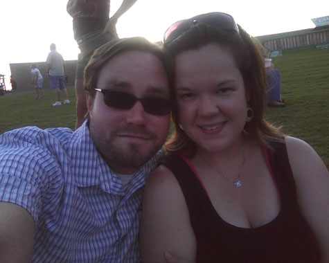 Kim and I on the hill at The Woodlands Pavilion