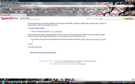 A screenshot of a Yahoo Mail fail.