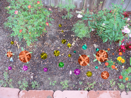 This color-coded image of the right side of my original bed shows what's planted here. Orange is the zinnia, yellow is the mixed wildflowers, purple is the bachelor buttons, turquoise is the blanket flower and the single green spot is the jalapeno.