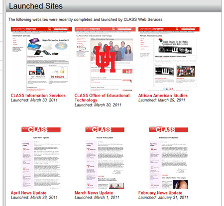 Launched sites