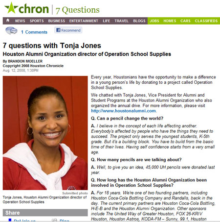 Chron article about Operation School Supplies