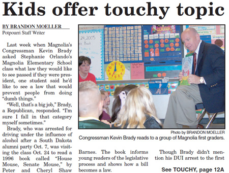 Kevin Brady reads to first graders
