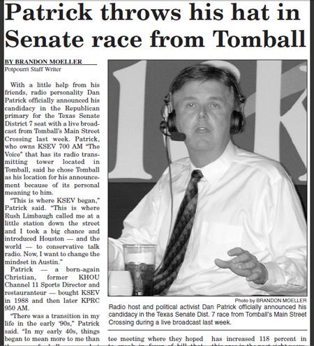 Story about Dan Patrick's senate candidacy