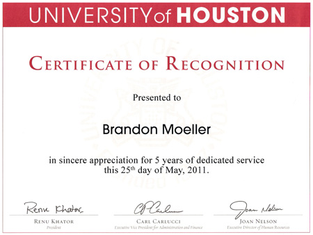 Five years of service to UH
