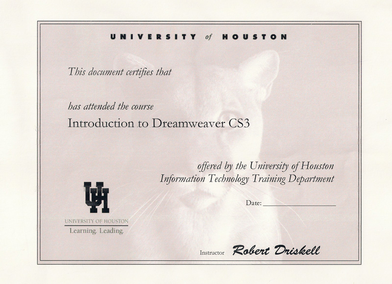 Introduction to Dreamweaver certificate