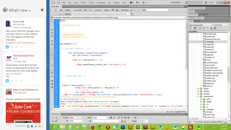 Adobe Dreamweaver CS 5.5 on the right and People app on the left.