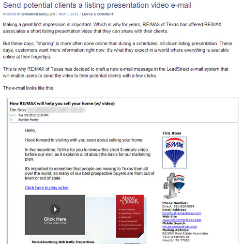 Listing presentation video email
