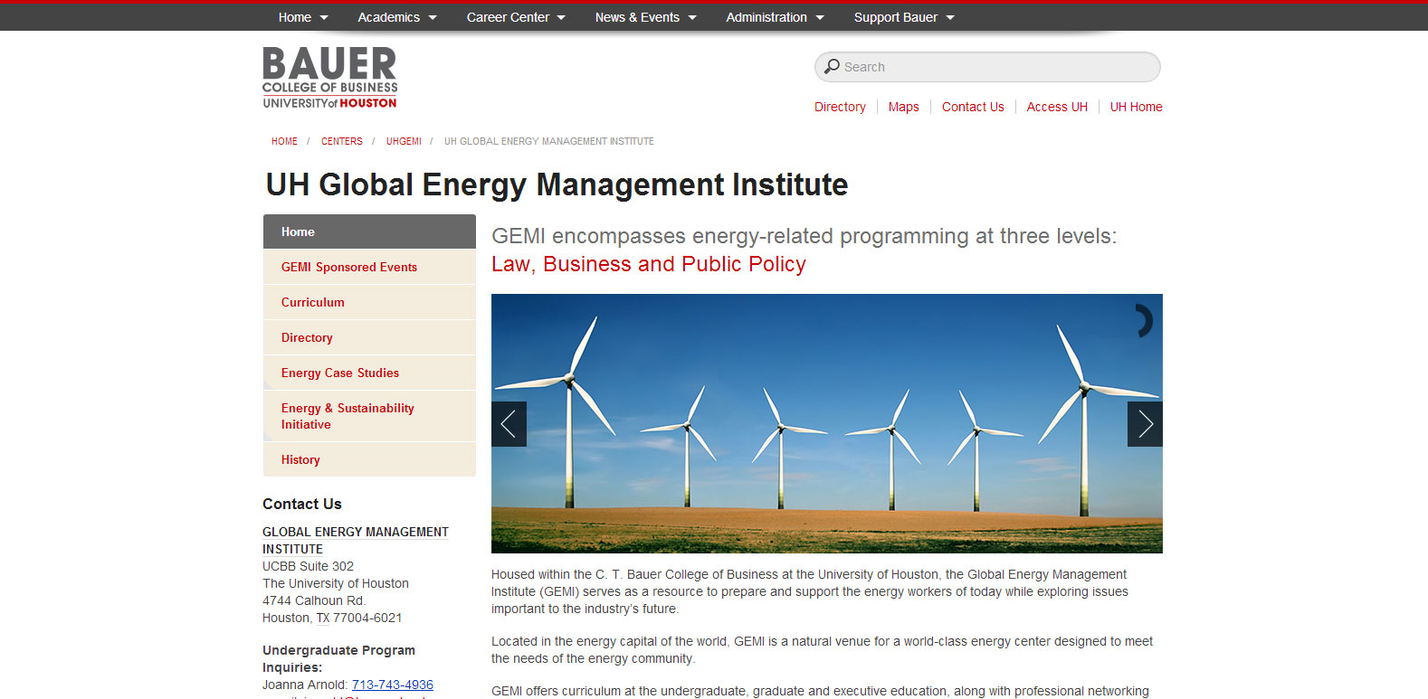 Full circle: The actual UH GEMI website as it launched today.