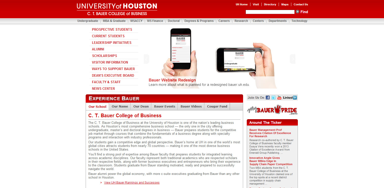 The original bauer.uh.edu website homepage that was first launched in 2008.