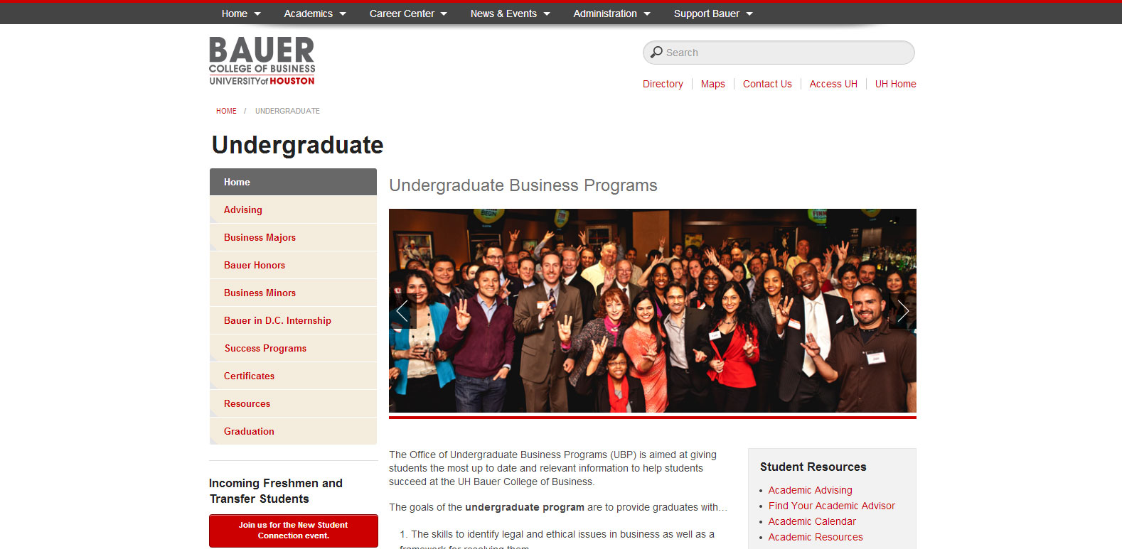 The new Undergraduate subsite is among more than 50 subsites that launched today with the new redesigned Bauer website.