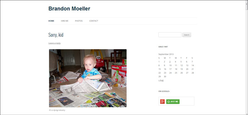 """Here is a screenshot of the homepage in the previous theme, Twenty Twelve. This photo is set to """"alignment none."""""""